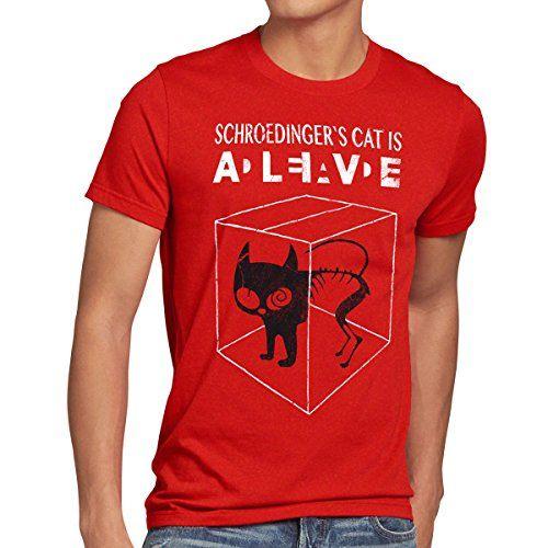 Style3 Chat De Schrodinger T Shirt Homme Taille M Couleur Rouge