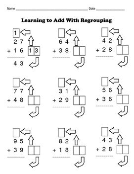 Addition With Regrouping Made Easy / 8 Math Worksheets