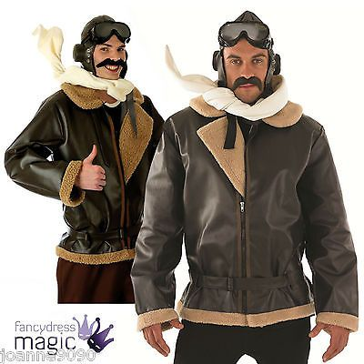 Mens 40s Biggles Wartime WW2 Fighter Pilot Fancy Dress Costume Book Day Week SET