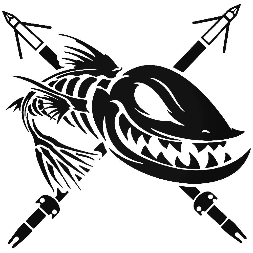 Bowfishing Spears Fish Skeleton Sticker Cameo Bowfishing Fish