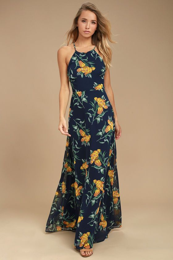 9f542ca2f77 Lovely Navy Blue and Yellow Floral Print Dress - Maxi Dress - Lace-Up Dress  Lulus