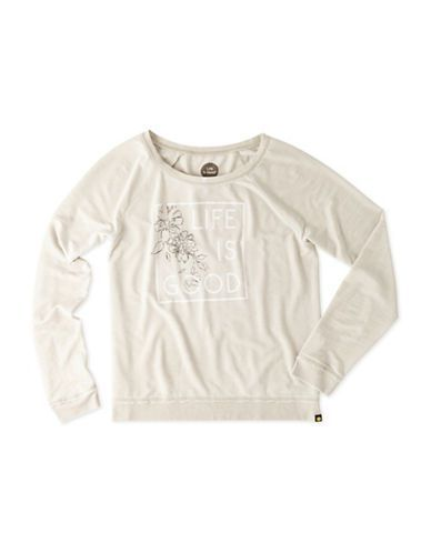 Life Is Good French Terry Crewneck Sweatshirt Women's Oatmeal Small