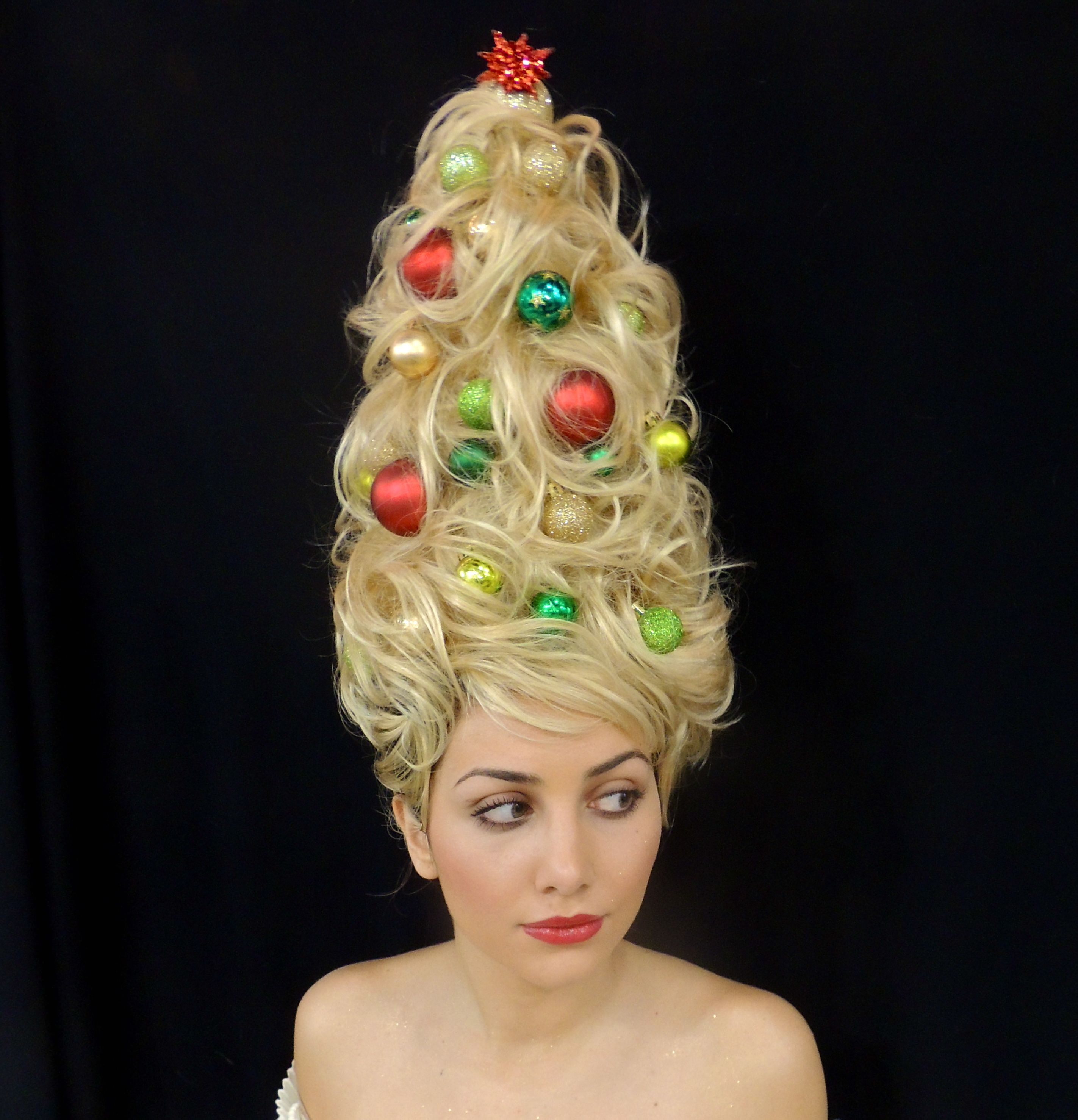 Holiday Hair Haha I M Going To Show Up To My In Laws Wearing This Do Christmas Tree Hair Holiday Hairstyles Hair Styles