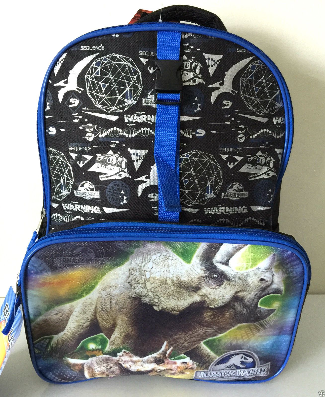 """Jurassic World Movie 16"" Backpack Lunch Box Case Bag Set Lot 2pc"" 