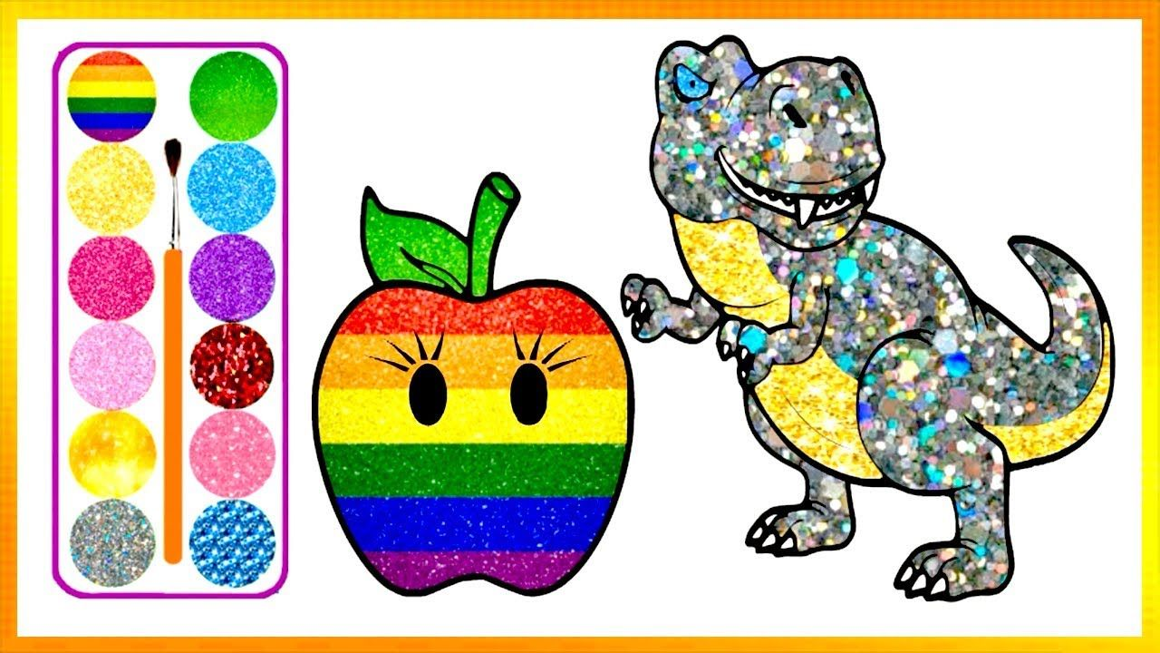 Drawing Apple And T Rex Dinosaur Coloring Book Kids Learn Easy Paintin Kids Coloring Books Drawing Apple Dinosaur Coloring