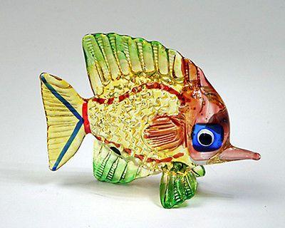Coastal Style MINIATURE HAND BLOWN GLASS Fish FIGURINE Sculpture Collection 01