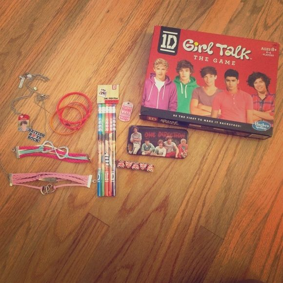 ONE DIRECTION BUNDLE Included: board game (X1) iPhone 5c case: (X1) British heart bracelet( x1) wmyb pendant(X1) pencils (x1) 2 Assorted bracelets (the big ones) 3 small plastic bracelets/BRITISH BOYS ROCK necklace/Louis necklace/ one direction puzzle/ TMHT poster/ 4 iPhone home buttons/ more to be added! Other