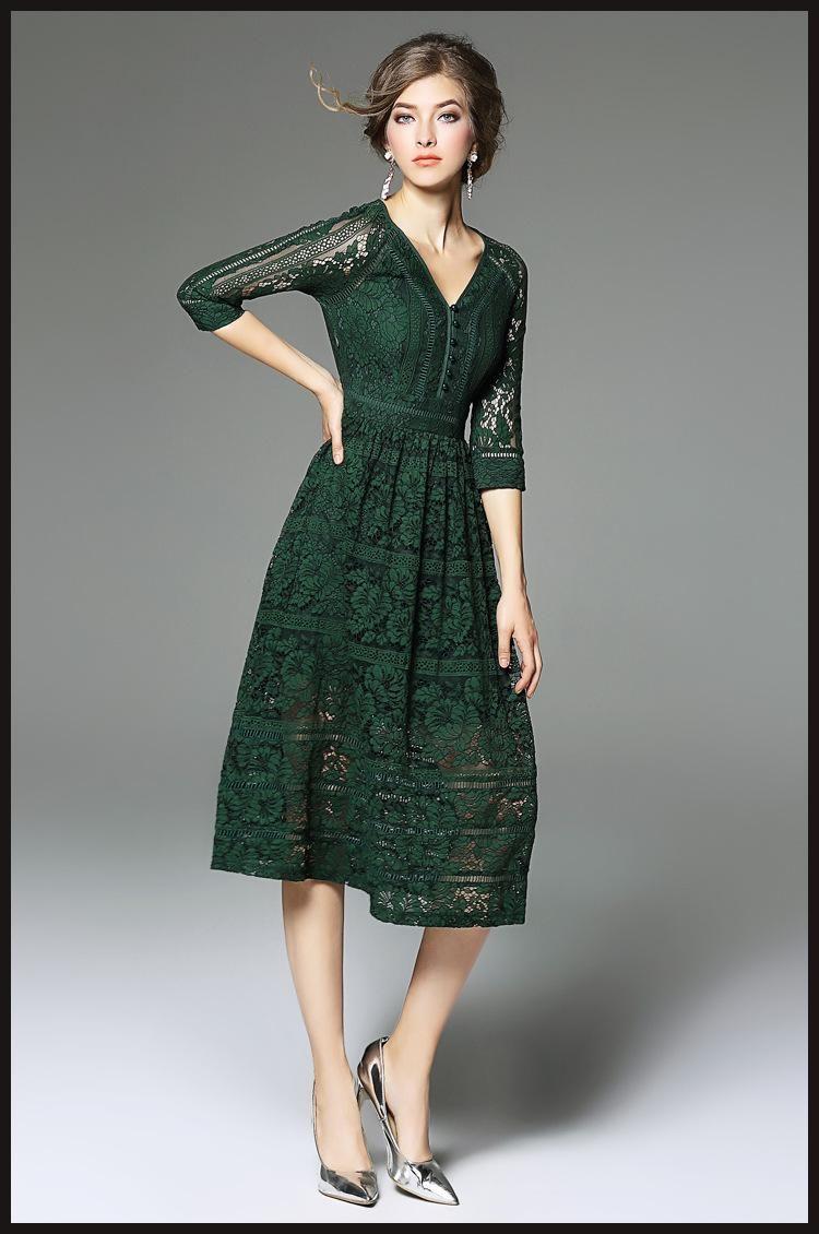 Dark Green Lace Dress