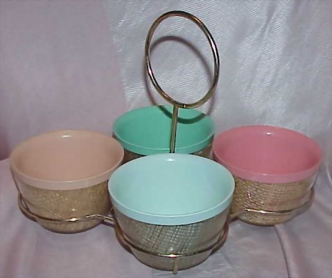 Melmac Multicolored Raffiaware Condiment Server
