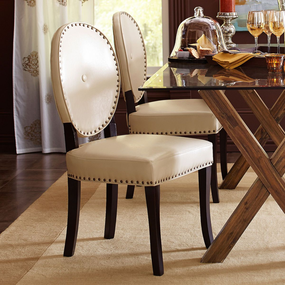Stupendous Cadence Ivory Dining Chair With Espresso Wood Dining Caraccident5 Cool Chair Designs And Ideas Caraccident5Info