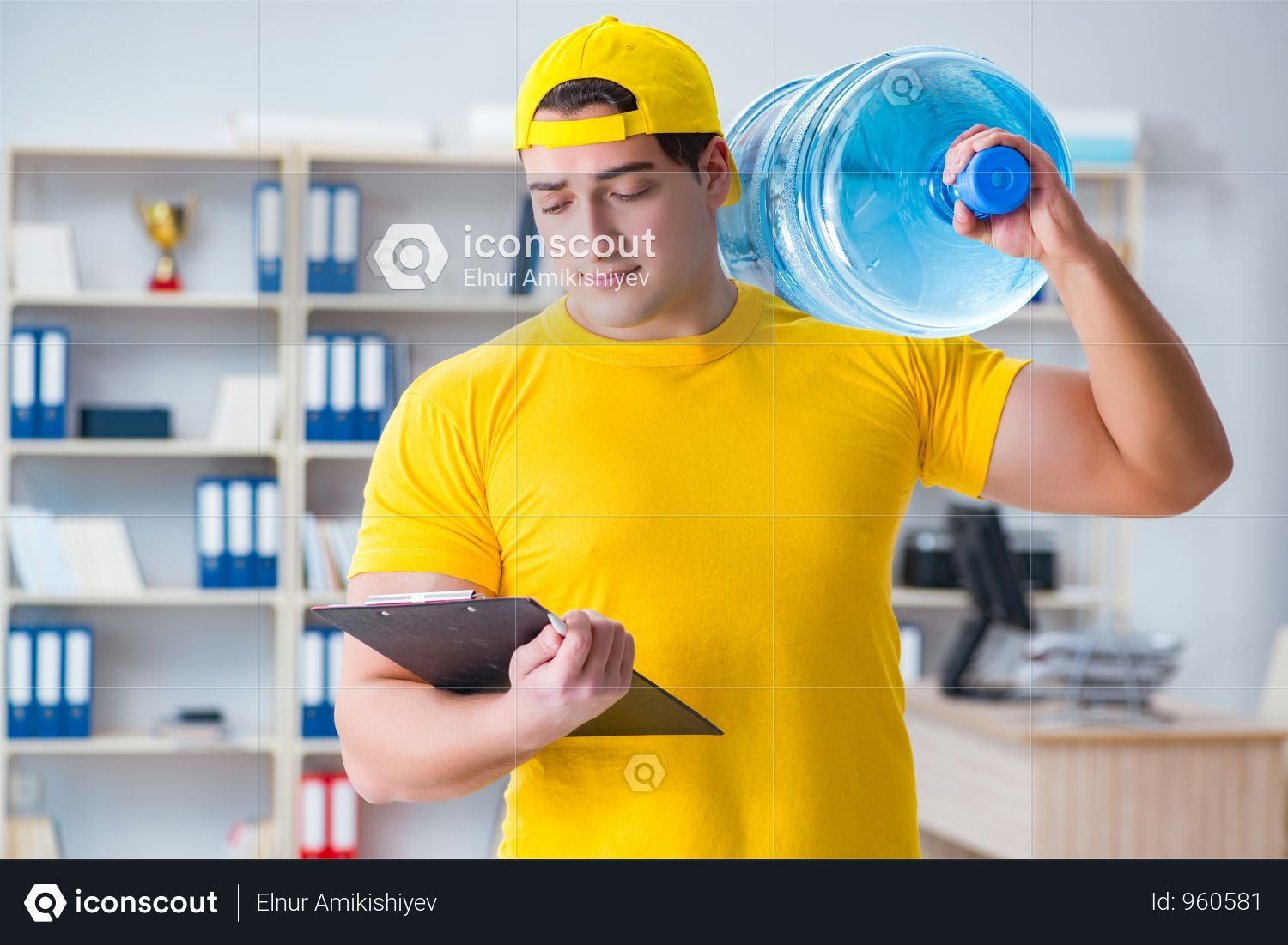 Premium Man Delivering Water Bottle To The Office Photo Download In Png Jpg Format With Images Delivery Photos Water Bottle The Office