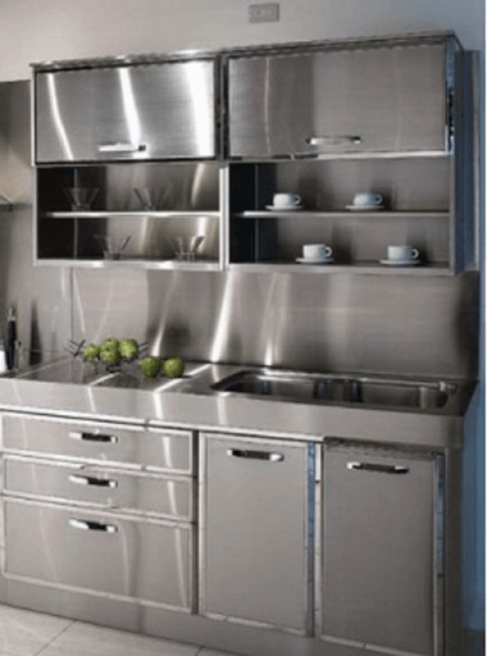 Metal Metal Everywhere Get Your Metallic Cabinets With Rauvisio Metal Http Metal Kitchen Cabinets Steel Kitchen Cabinets Decorating Above Kitchen Cabinets
