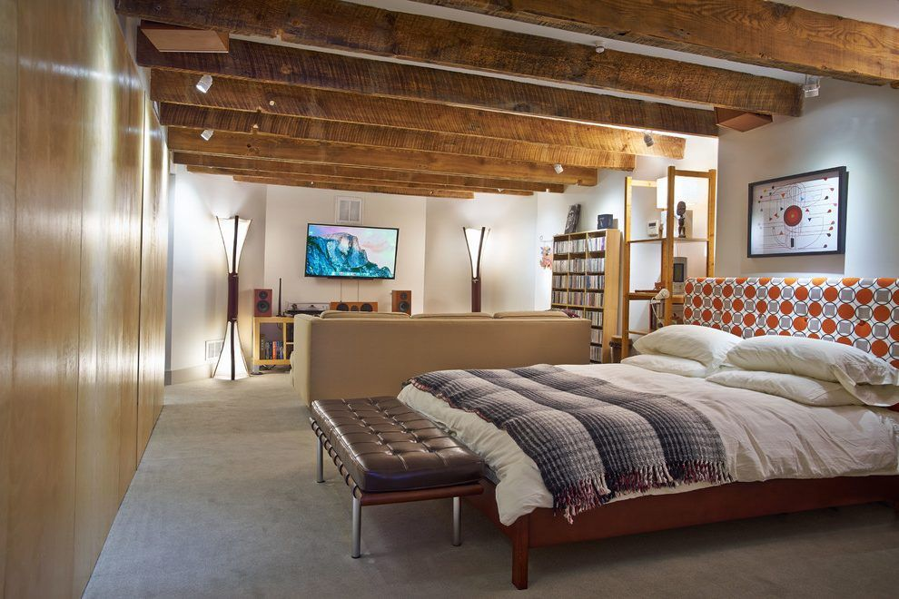 low ceiling basement contemporary with wallmounted tv