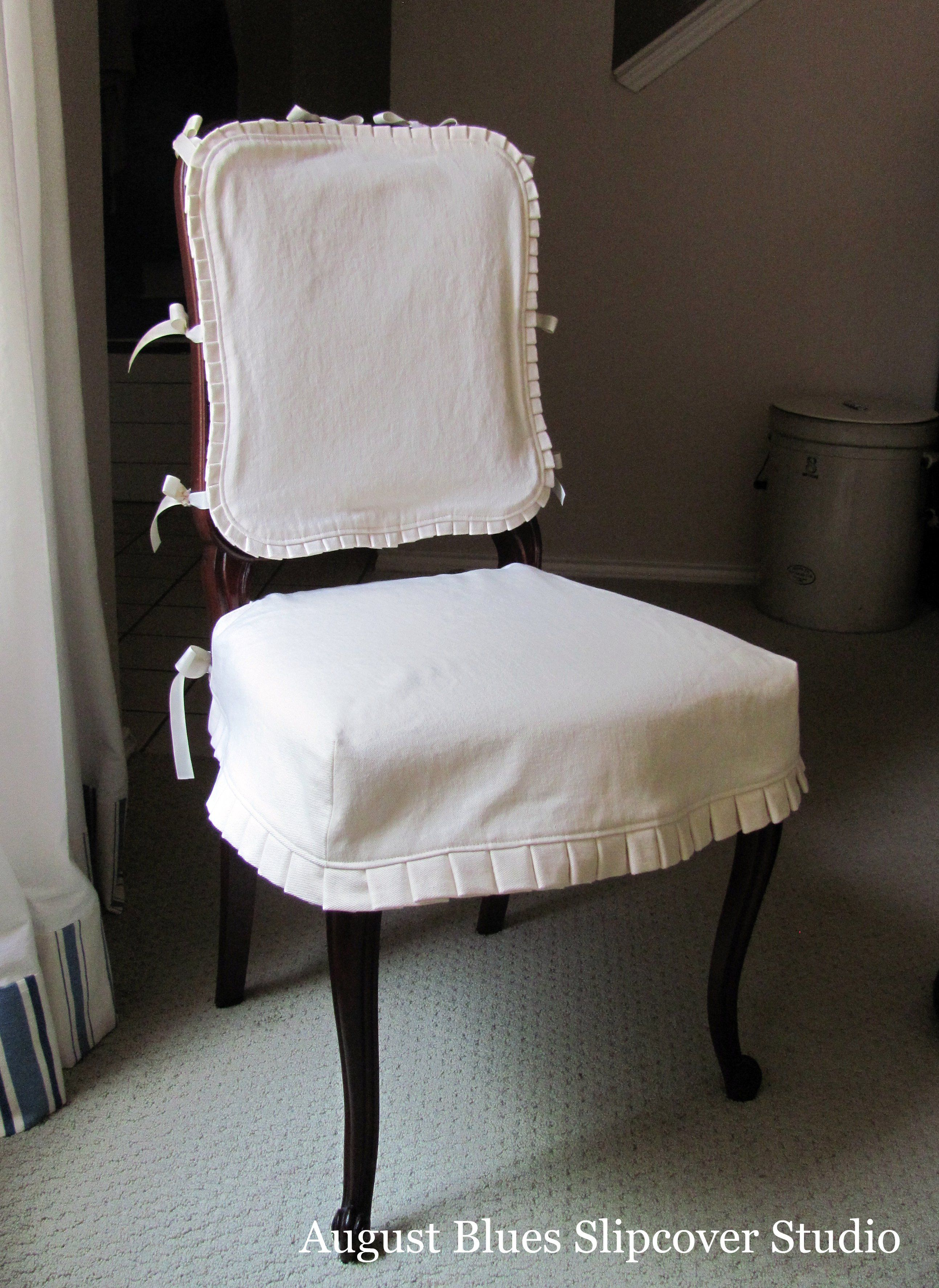 Dining Room Chair Covers Elegant And Frenchy Love The Little Pleat Trim Dining Room Chair Slipcovers Dining Chair Seat Covers Slipcovers For Chairs