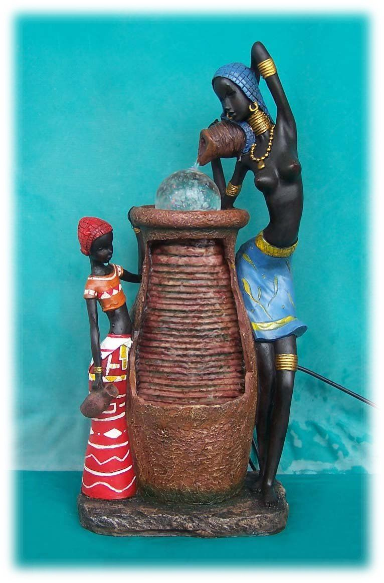 African Woman Daughter Pouring Jug Water Fountain With Crystal Orb Tabletopfountain Waterfeature Gardenfountain Outdoorfountain