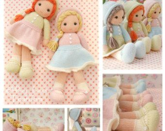 Dolls from the TEAROOM/ Doll/ Toy Knitting Patterns/ 4 variations Knitted Dolls plus Free PDF for A Simply Sewn Pinafore/ INSTANT Download #dollhats