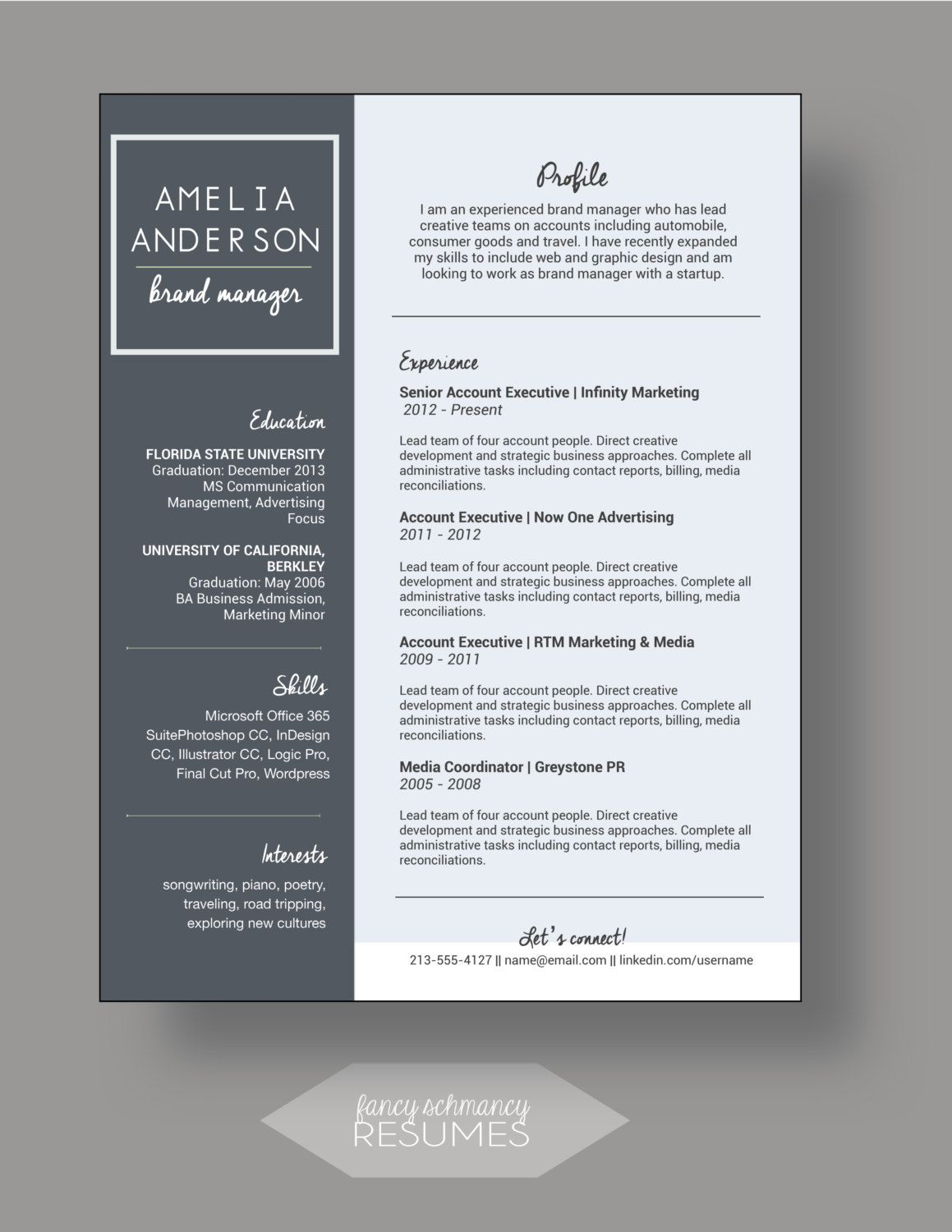Blue and Grey Resume Cover Letter by FancyShmancyResumes