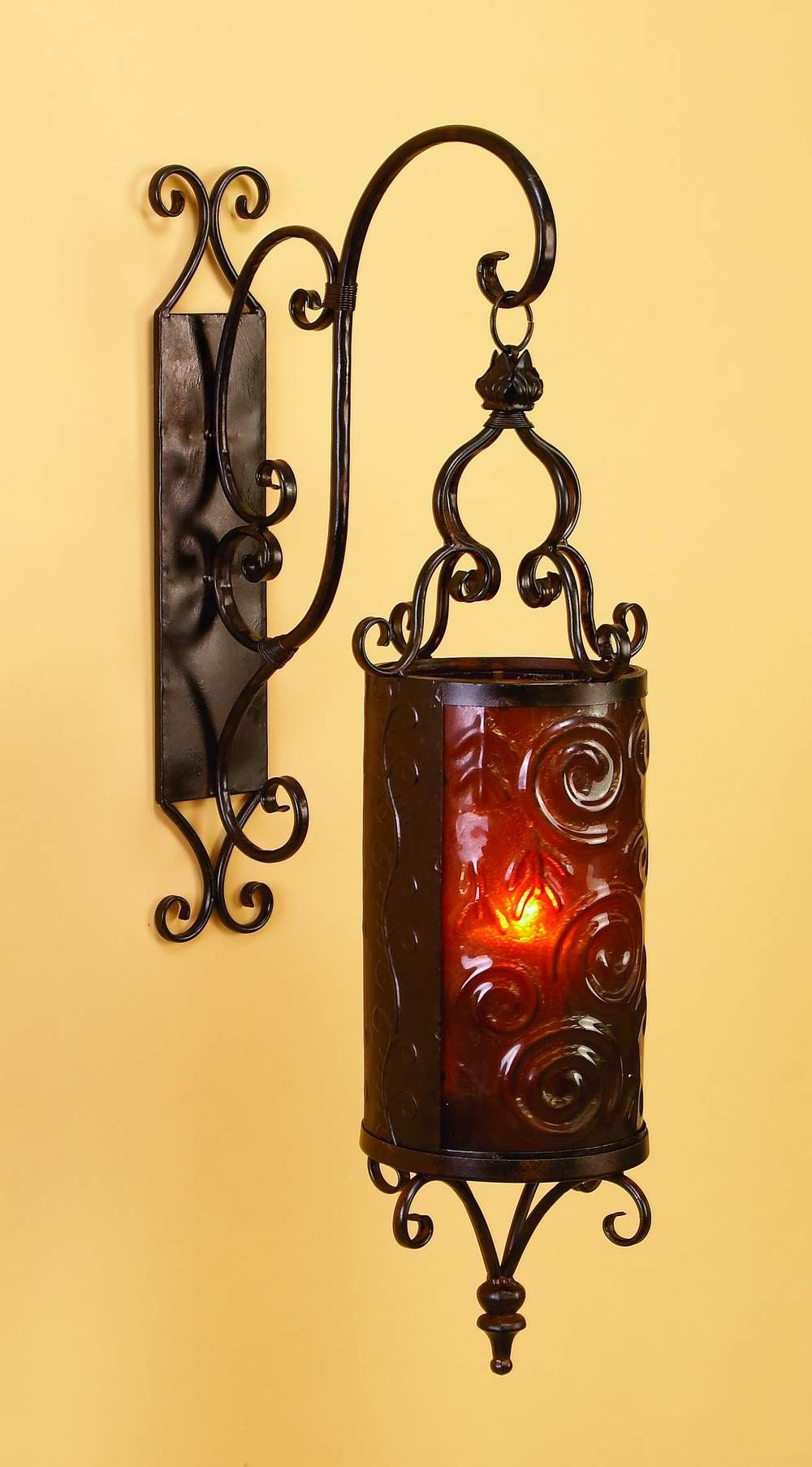 Spanish Hanging, metal candle lantern | Tuscan designed ornate resin ...