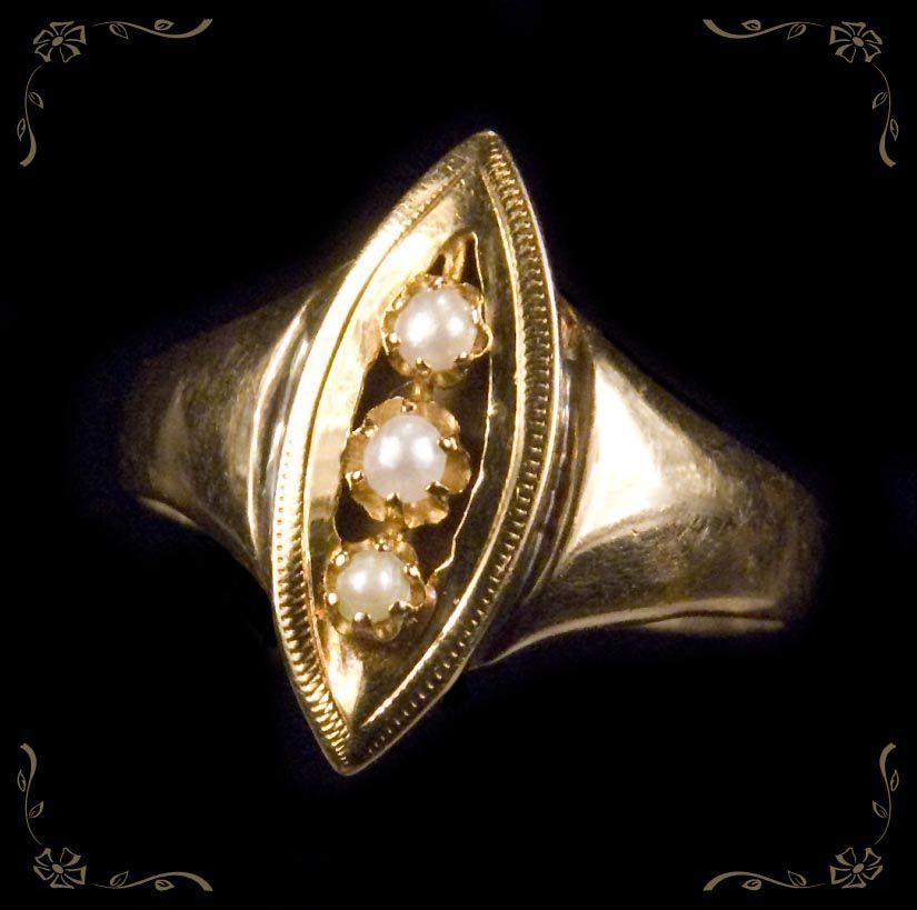 Elegant Vintage Hand Crafted 3 Pearl Navette 14k Rose Gold Ring