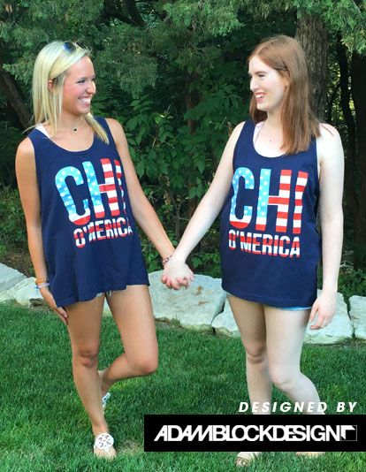 Chi Omega America Tank by Adam Block Design | Custom Greek Apparel & Sorority Clothes | www.adamblockdesign.com