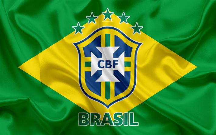 Download Wallpapers Brazil National Football Team Logo Emblem Flag Of Brazil Football Federation World Championship Football Silk Texture Besthqwallpaper Football Team Logos National Football Teams Brazil Football Team