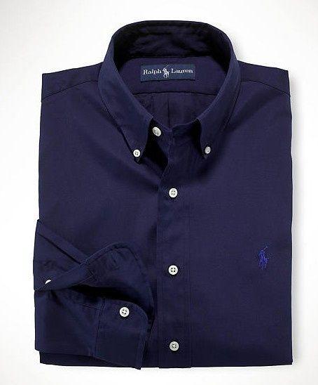 d8dda3e6e Polo Ralph Lauren Solid Mens Dress Shirt Navy Blue