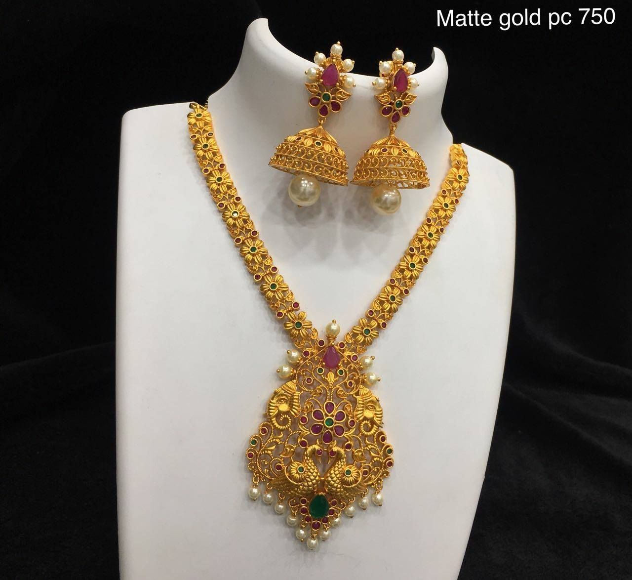 Beautiful One Gram Gold Long Haaram With Lotus Flower Design Long