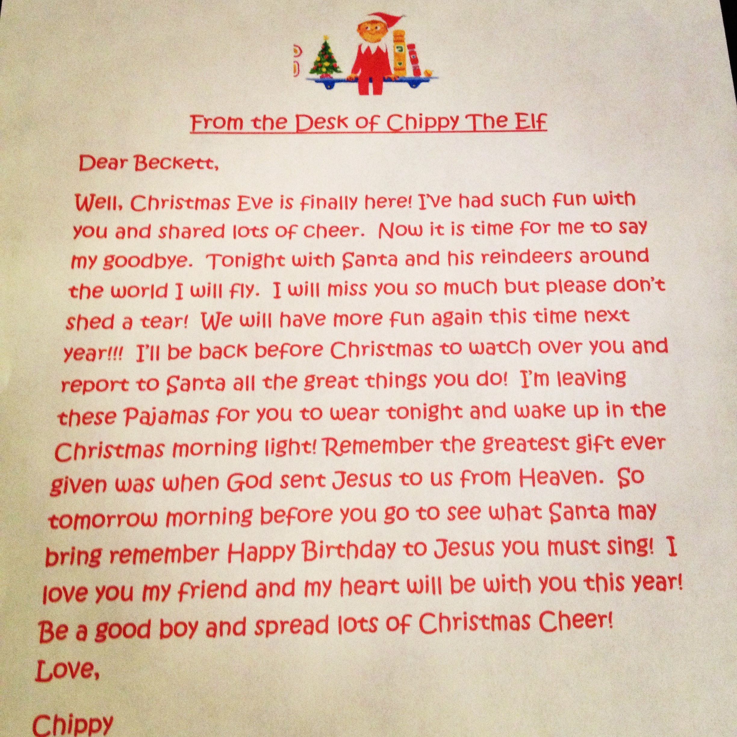 Elf on the shelf goodbye letter | Christmas & Elf on the Shelf ...