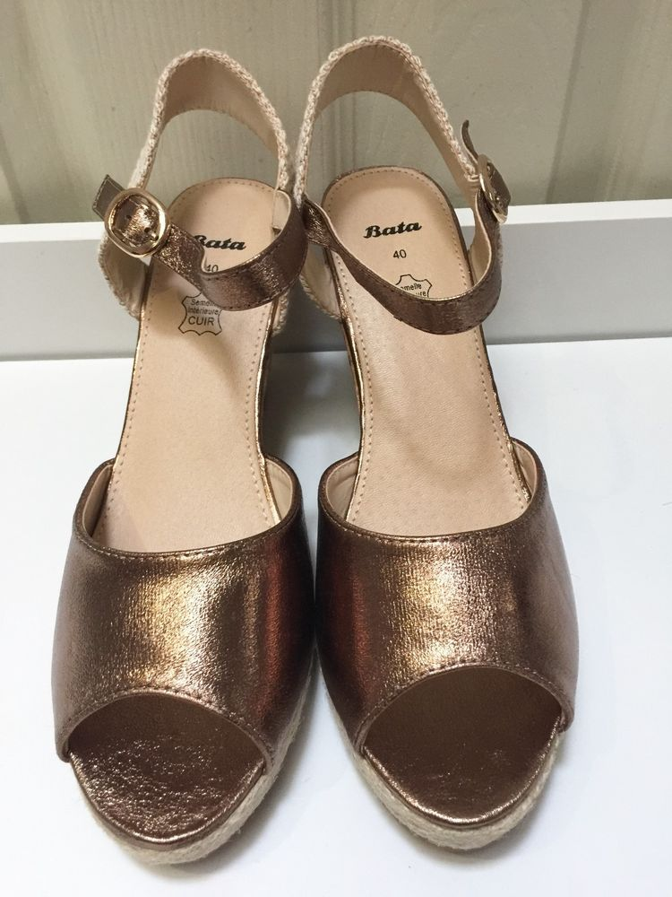 d0a8c6fc3c96 Womens Bronze High Wedge Heel Sandals Ankle Strap Peep Toe Shoes Size UK 7  New