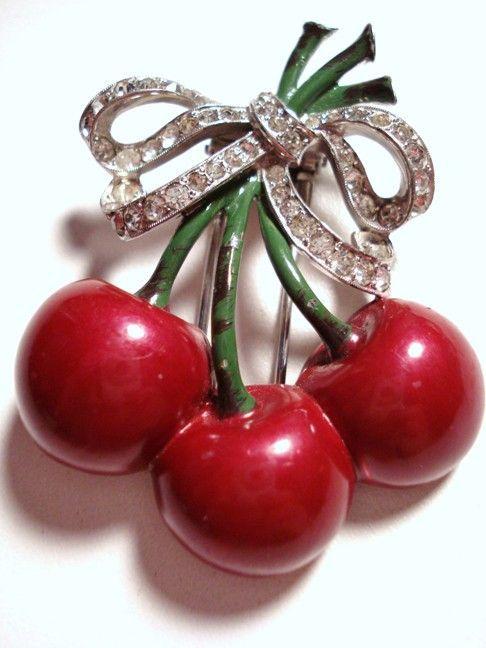 Collectible Mazer Enamel Bunch of Cherries Fur Clip