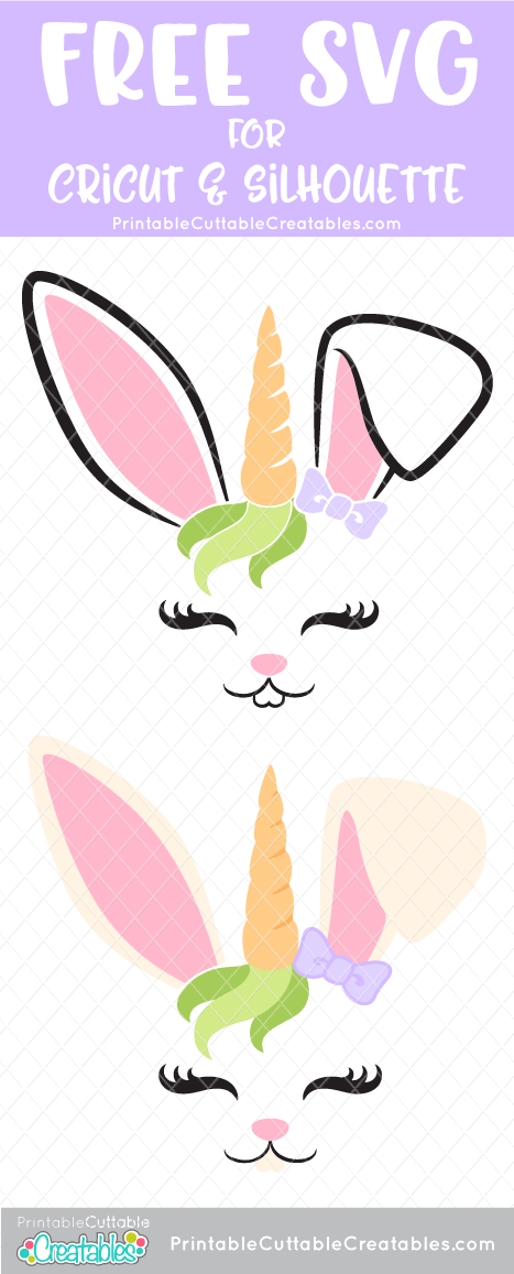 Bunny Unicorn Face Free SVG File - Free SVG Files #cricutcrafts