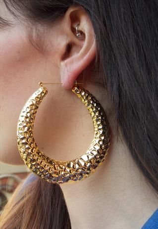 Hammered Gold Ghetto Hoops Earrings Hoop Chunky Jewelry