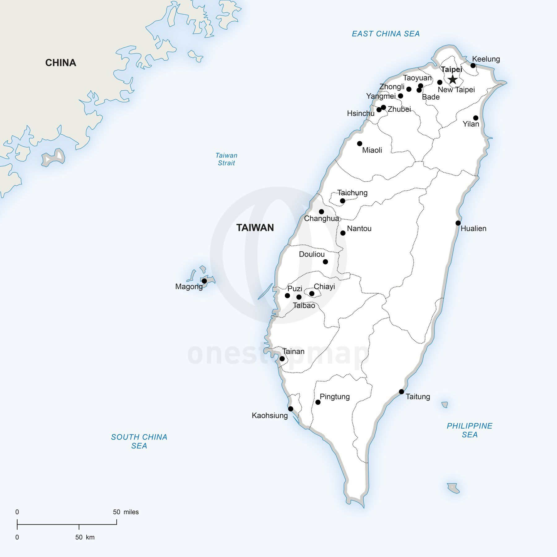 Vector Map Of Taiwan Political Taiwan - New york map eps