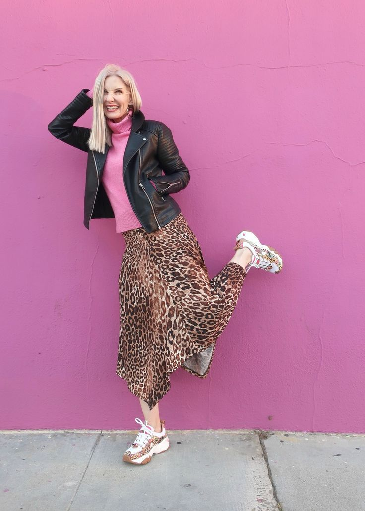 Fashion Should Be Fun  Style Over 40 Leopard midi skirt moto jacket chunky sneakers pink cashmere turtleneck fun with fashion over 50