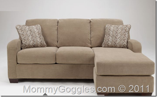 The couch is more like a loveseat with a chase lounger and ottoman, but it has a queen size pull out bed in it. Description from mommygoggles.com. I searched for this on bing.com/images