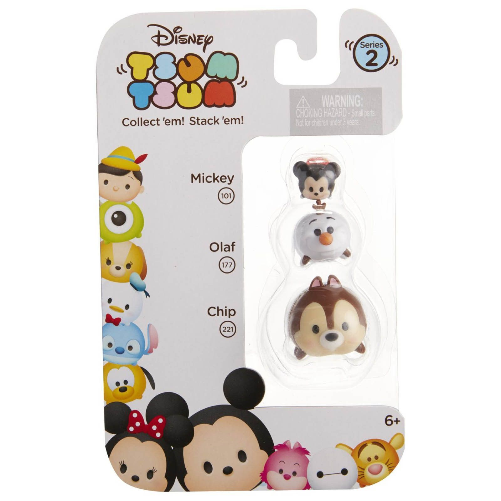 Disney Tsum Tsum Series 2 Mickey Olaf Chip Figures 3 Pack