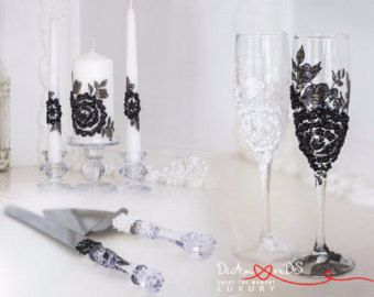 Items similar to Silver Bling and Purple 10pc Wedding Set with Centerpiece toasting flutes cake server set candle holders 4x6 frames on Etsy