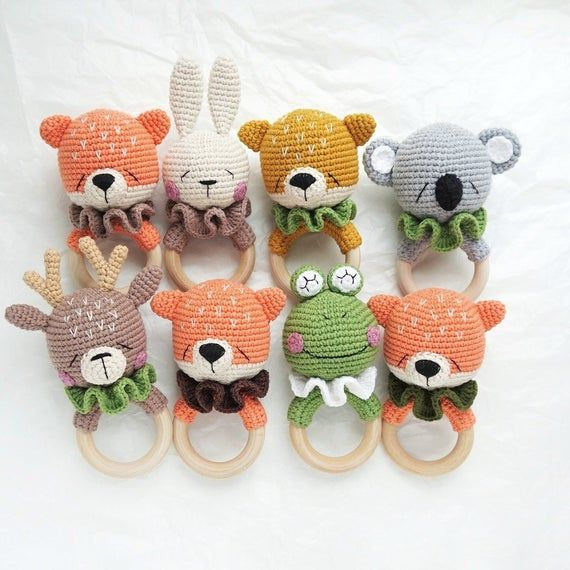 CROCHET PATTERN, Teeth cutter, Fox, amigurumi, crochet rattle, crochet toy #crochettoysanddolls