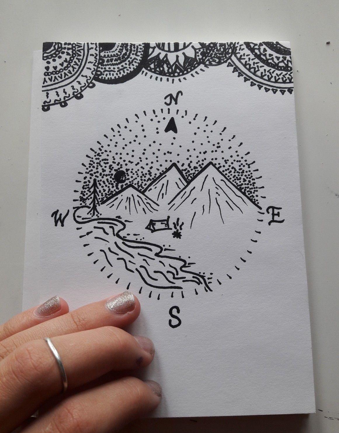 Draw Kompass Malen Welt Berge Muster Tumblr Zeichnen