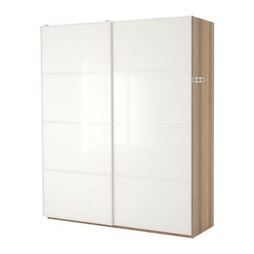 PAX Kleiderschrank, Eicheneff wlas, Färvik weißes Glas | Schlafzimmer