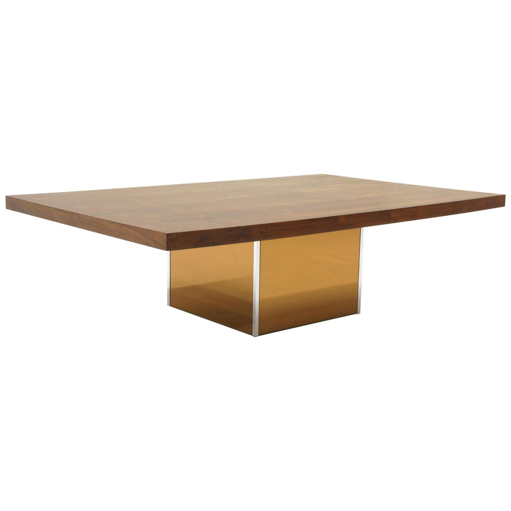 Rosewood Coffee Table With Bronze Mirror Base By Milo Baughman Rectangle Top Coffee Table Design Bronze Mirror