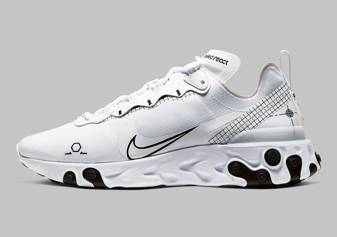 The Nike React Element 55 Schematic To Release In White And Black ...