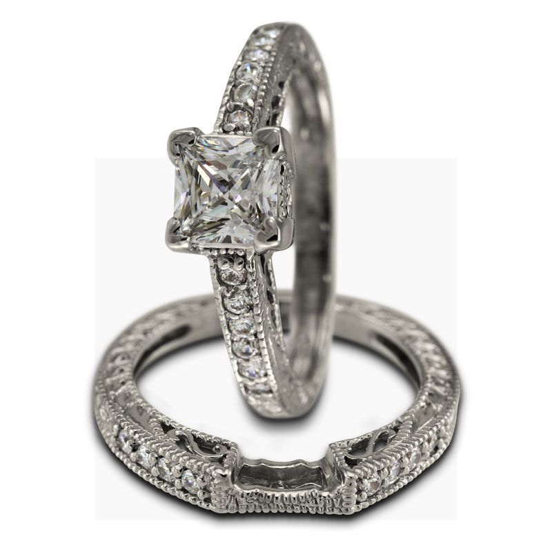 Antique Princess Cut Diamond Engagement Duo Setting -  This engagement ring can hold a center diamond weighing from 0.75ct up to 0.95ct and both pieces have a total combined weight of 0.35ct of round accent diamonds.