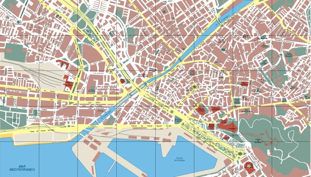 Mapa Callejero De Malaga.Malaga Malaga Mapas Espana