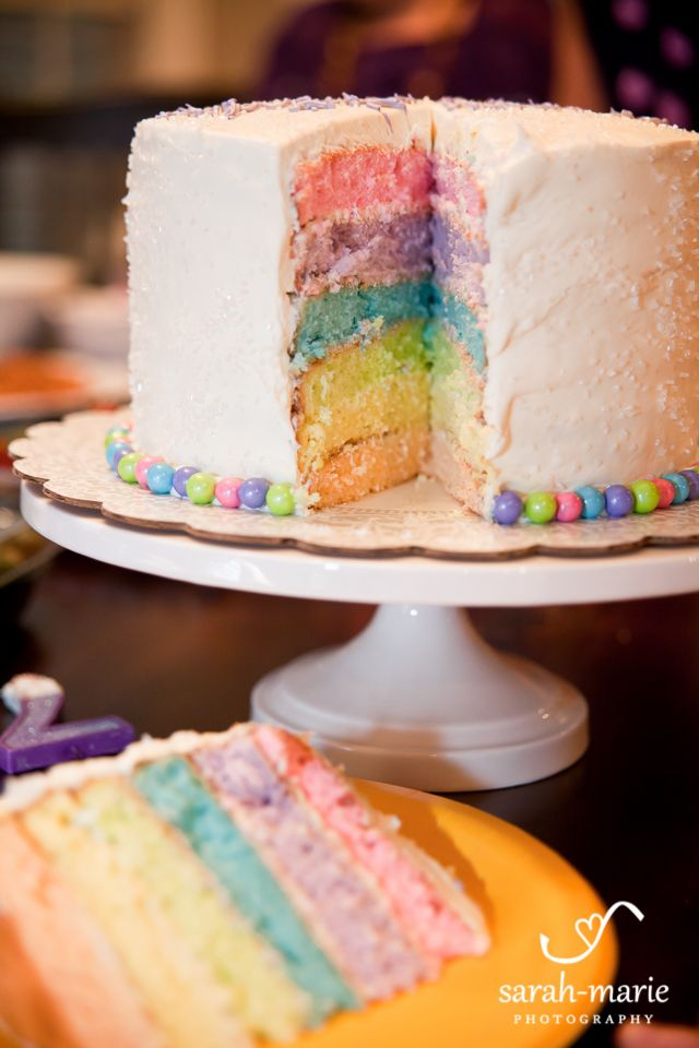 Rainbow Cake White Glitter Sprinkles On The Outside With White