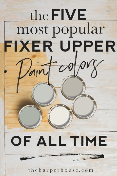 Fixer Upper Paint Colors  The Most Popular of ALL TIME is part of Fixer upper paint colors, House color palettes, Fixer upper paint, Paint colors for home, Farmhouse paint colors, Interior paint colors - The most popular fixer upper paint colors used on the show  See which colors Joanna used and find out why they're so popular