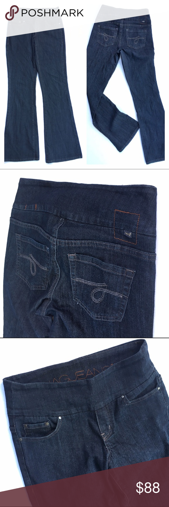 """Jag Jeans High Waisted Pull-On Flare Jeans Jag Jeans High Waisted Pull-On Flare Jeans, size 2. Flattering, comfy denim. Pull-on jean in comfortable stretch cotton-poly denim. Wide elastic waistband lends a sleek look under tops. No muffin top in these jeans!  Classic five-pocket design. Contrast topstitching. Faux fly. Logo patch at back waist. 77% cotton, 21% polyester, 2% spandex. Machine wash cold, tumble dry low. Imported. Measurements: Waist 15.25"""" flat across, Inseam: 32.5"""", Rise…"""