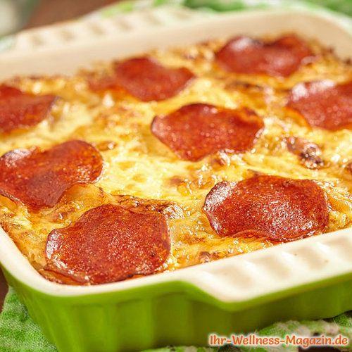 Pizza-Auflauf mit Quark - eiweißreiches Low-Carb-Rezept