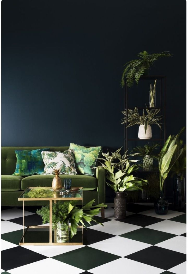 Hague Blue walls; moss green sofa... Sublime combination | Inspiring ...