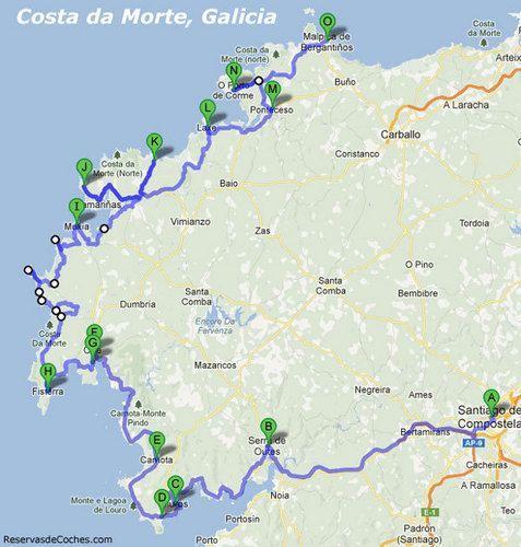 Mapa Ruta En Coche Costa Da Morte Ruta De Viaje Viajes Y Turismo